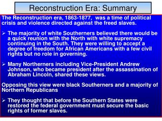 Reconstruction Era: Summary