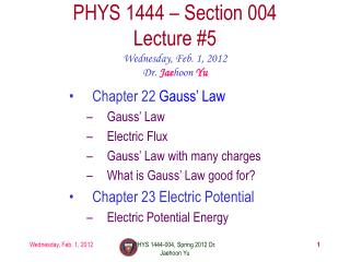 PHYS 1444 – Section  004 Lecture  #5