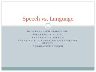Speech vs. Language