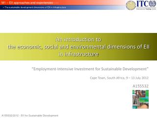 An introduction to the economic, social and environmental dimensions of EII in infrastructure
