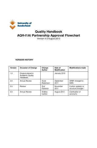Quality Handbook AQH-I1Ai Partnership Approval Flowchart Version 4.0 August 2013