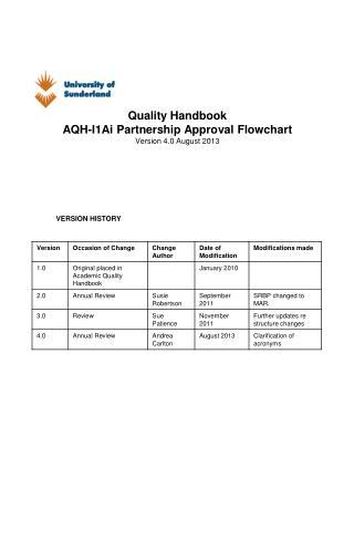 Quality Handbook AQH-I1Ai Partnership Approval Flowchart Version 4.0 August 2013