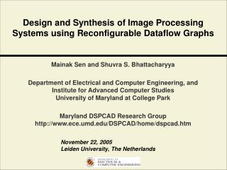 Design and Synthesis of Image Processing Systems using Reconfigurable Dataflow Graphs