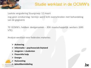 Studie werklast in de OCMW's