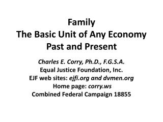 Family  The Basic Unit of Any Economy Past and Present