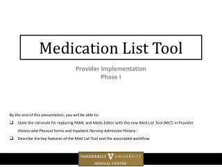 Medication List Tool