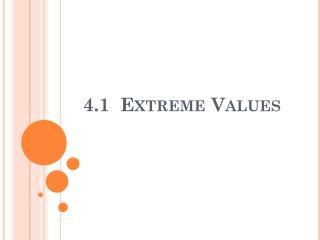 4.1  Extreme Values