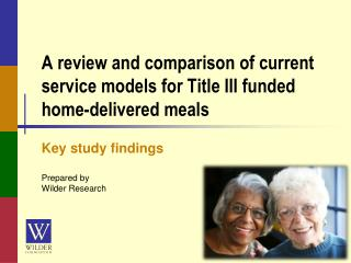 A review and comparison of current service models for Title III funded home-delivered meals