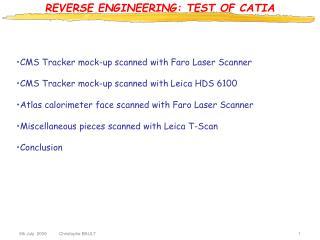 REVERSE ENGINEERING: TEST OF CATIA