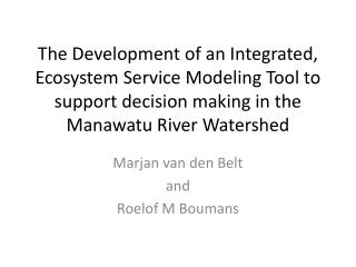 Marjan  van den Belt and  Roelof  M  Boumans