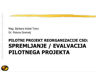 Pilotni projekt REORGANIZACIJE  csd : spremljanje / evalvacija pilotnega projekta