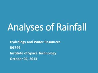 Analyses of Rainfall