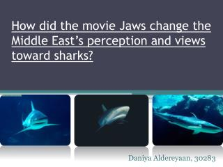 How did the movie Jaws change the Middle East's perception and views  toward sharks?