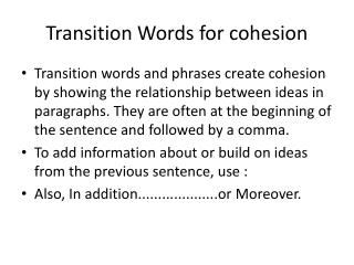 Transition Words for cohesion