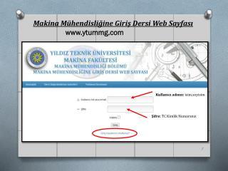 Makina Mühendisliğine Giriş Dersi Web Sayfası ytummg