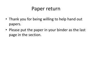 Paper return