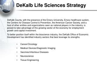 DeKalb Life Sciences Strategy