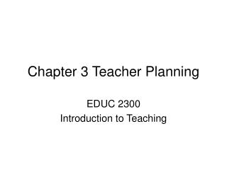 Chapter 3 Teacher Planning