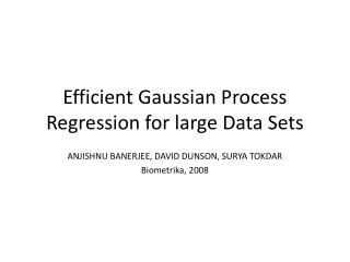 Efficient Gaussian Process Regression for large Data Sets