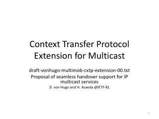 Context Transfer Protocol Extension for Multicast