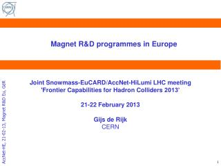 Magnet R&D programmes in  Europe
