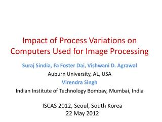 Impact of Process Variations on Computers Used for Image Processing