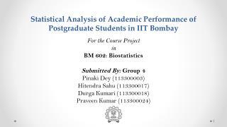 Statistical  Analysis  of Academic Performance of Postgraduate Students in IIT Bombay
