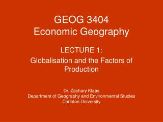 GEOG 3404 Economic Geography