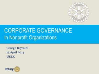CORPORATE GOVERNANCE In Nonprofit Organizations