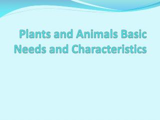 Plants and Animals Basic Needs and Characteristics