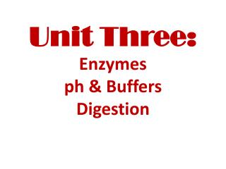 Unit Three: Enzymes ph  & Buffers Digestion