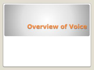Overview of Voice