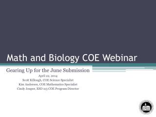 Math and Biology COE Webinar