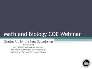 Math and Biology COE Webinar