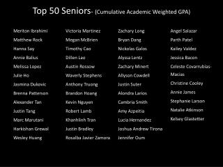 Top 50  Seniors -  (Cumulative Academic Weighted GPA)