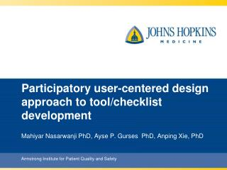 Participatory user-centered design approach to tool/checklist development