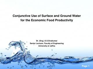 Conjunctive Use of Surface and Ground Water  for the Economic Food Productivity