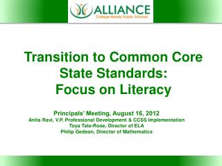 Transition to Common Core State Standards: Focus on Literacy