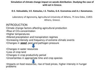 INTRODUCTION Climate change factors affecting agricultural production Rise of CO 2  concentration