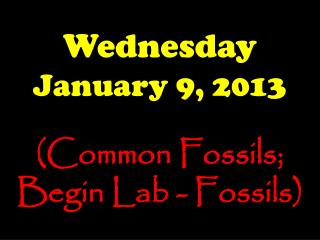 Wednesday January 9, 2013