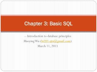 Chapter 3: Basic SQL