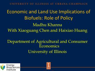 Economic and Land Use Implications of Biofuels: Role of Policy