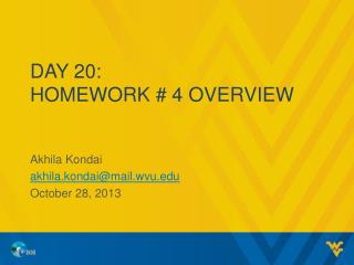 Day 20: Homework # 4 overview