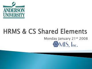 HRMS & CS Shared Elements