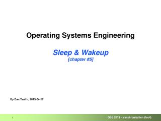 Operating Systems Engineering Sleep & Wakeup [chapter #5]