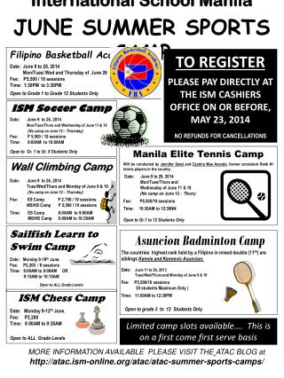 International School Manila JUNE SUMMER  SPORTS CAMP