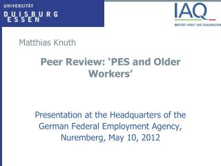 Peer Review: 'PES and Older Workers'