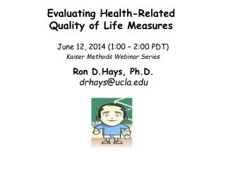 Evaluating Health-Related  Quality of Life Measures