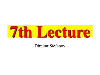 7th Lecture