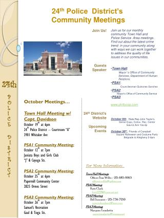 October Meetings… Town Hall Meeting w/  Capt. Davidson October 19 th  at 6pm